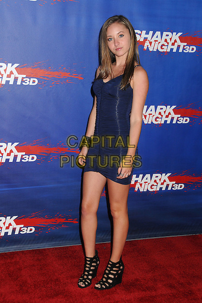 "Rachel Fox.""Shark Night 3D"" Los Angeles Cast & Crew Screening held at Universal CityWalk, Universal City, California, USA..September 1st, 2011.full length black sleeveless sandals ankle blue ruched dress side .CAP/ADM/BP.©Byron Purvis/AdMedia/Capital Pictures."