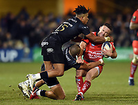Alby Matthewson of RC Toulon is double-tackled by Anthony Watson and Jonathan Joseph of Bath Rugby. European Rugby Champions Cup match, between Bath Rugby and RC Toulon on December 16, 2017 at the Recreation Ground in Bath, England. Photo by: Patrick Khachfe / Onside Images