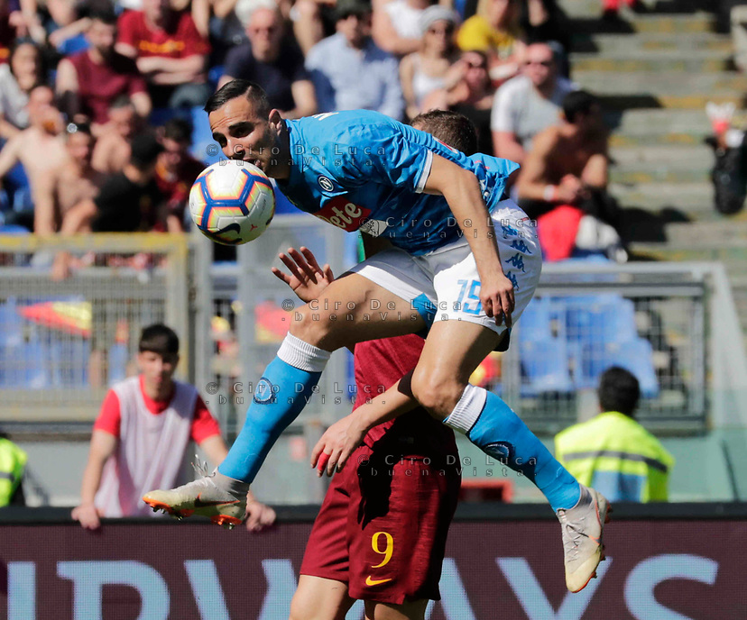 Nikola Maksimovic of Napoli  during the  italian serie a soccer match, AS Roma -  SSC Napoli       at  the Stadio Olimpico in Rome  Italy , March 31, 2019