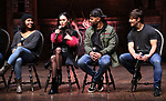 "Sasha Hollinger, Sabrina Imamura, Terrance Spencer and Thayne Jasperson during The Rockefeller Foundation and The Gilder Lehrman Institute of American History sponsored High School student #eduHam matinee performance of ""Hamilton"" Q & A at the Richard Rodgers Theatre on December 5,, 2018 in New York City."
