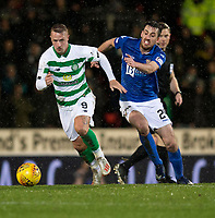 29th January 2020; McDairmid Park, Perth, Perth and Kinross, Scotland; Scottish Premiership Football, St Johnstone versus Celtic; Leigh Griffiths of Celtic races away from Callum Booth of St Johnstone
