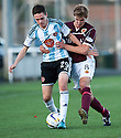 Hearts' Liam Smith holds off Stenny's Kieran Miller.