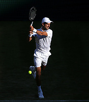 Novak Djokovic (SRB) during his match against Denis Kudia (USA) in their Gentleman's Singles Second Round match<br /> <br /> Photographer Rob Newell/CameraSport<br /> <br /> Wimbledon Lawn Tennis Championships - Day 3 - Wednesday 3rd July 2019 -  All England Lawn Tennis and Croquet Club - Wimbledon - London - England<br /> <br /> World Copyright © 2019 CameraSport. All rights reserved. 43 Linden Ave. Countesthorpe. Leicester. England. LE8 5PG - Tel: +44 (0) 116 277 4147 - admin@camerasport.com - www.camerasport.com