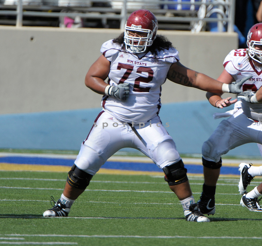 SIOELI FAKALATA, of the New Mexico State Aggies, in action during New Mexico's game against the San Jose State Spartans on September 24, 2011 at Spartan Stadium in San Jose, CA. San Jose beat New Mexico 34-24.