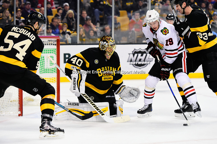 Friday, January 20, 2017: Chicago Blackhawks center Jonathan Toews (19) attacks the net protected by Boston Bruins goalie Tuukka Rask (40) during the National Hockey League game between the Chicago Blackhawks and the Boston Bruins held at TD Garden, in Boston, Mass. Chicago defeats Boston 1-0 in regulation time. Eric Canha/CSM