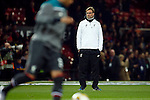 Manager of Liverpool, Jurgen Klopp watches his side warm up during the UEFA Europa League match at Old Trafford. Photo credit should read: Philip Oldham/Sportimage