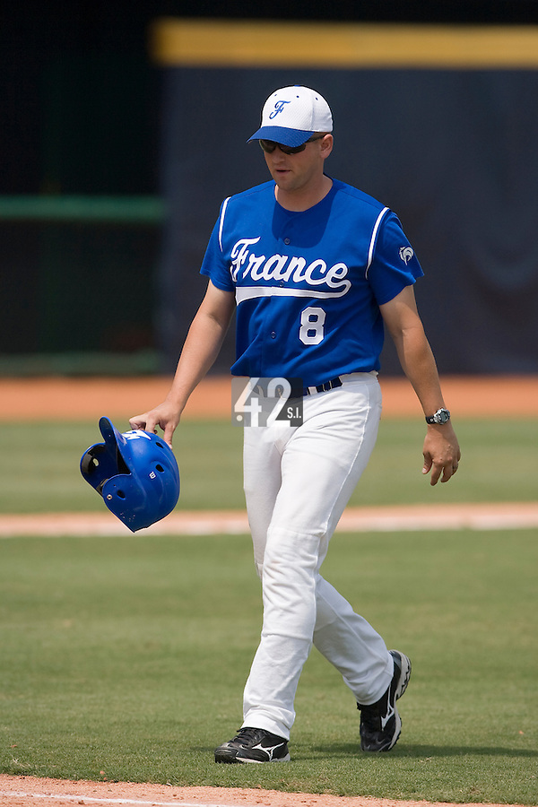 23 August 2007: Coach Joshua Ridgway is seen during the France 8-4 victory over Czech Republic in the Good Luck Beijing International baseball tournament (olympic test event) at the Wukesong Baseball Field in Beijing, China.