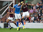 Hearts v St Johnstone...02.08.15   SPFL Tynecastle, Edinburgh<br /> Brad McKay challenges Juanman Delgado<br /> Picture by Graeme Hart.<br /> Copyright Perthshire Picture Agency<br /> Tel: 01738 623350  Mobile: 07990 594431