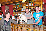 SHEEPISH: Maeve Tangney (left) of Knightly's Bar in Castlemaine who has adopted 'Choppy' the Lamb, pictured here with Padraig Tangney and Toma?s Evans..