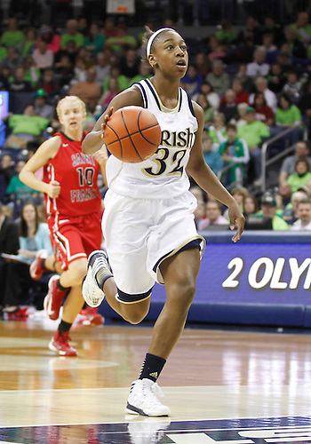 December 31, 2012: Notre Dame guard Jewell Loyd (32) dribbles the ball on a break away during NCAA Women's Basketball game action between the Notre Dame Fighting Irish and the St. Francis (PA) Red Flash at Purcell Pavilion at the Joyce Center in South Bend, Indiana.  Notre Dame defeated St. Francis 128-55.