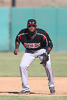 Duanel Jones #20 of the Lake Elsinore Storm during a game against the Lancaster JetHawks at The Hanger on April 6, 2014 in Lancaster, California. Lancaster defeated Lake Elsinore, 7-4. (Larry Goren/Four Seam Images)