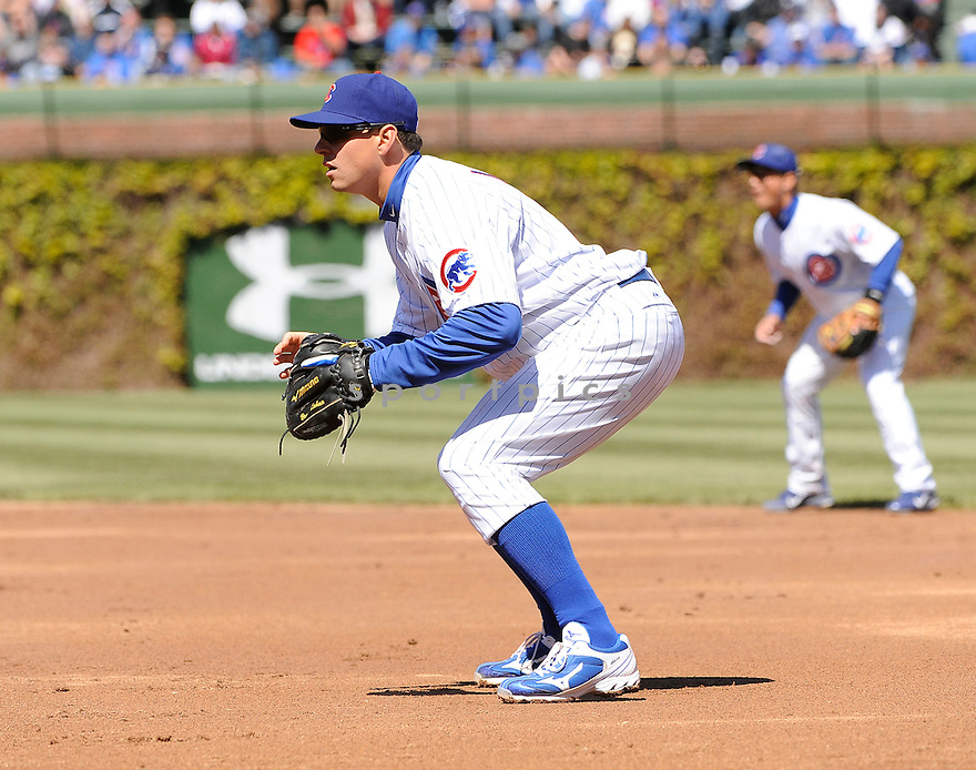BRYAN LAHAIR, of the Chicago Cubs, in action during the Cubs game against the Milwaukee Brewers on April 11, 2012 at Wrigley Field in Chicago, IL. The Brewers beat the Cubs 2-1.