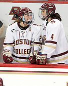 Lexi Bender (BC - 21), Megan Keller (BC - 4) - The Boston College Eagles defeated the visiting UConn Huskies 4-0 on Friday, October 30, 2015, at Kelley Rink in Conte Forum in Chestnut Hill, Massachusetts.