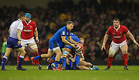 1st February 2020; Millennium Stadium, Cardiff, Glamorgan, Wales; International Rugby, Six Nations Rugby, Wales versus Italy; Callum Braley of Italy passes the ball out