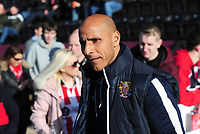 Stevenage manager Dino Maamria during the pre-match warm-up<br /> <br /> Photographer Andrew Vaughan/CameraSport<br /> <br /> The EFL Sky Bet League Two - Lincoln City v Stevenage - Saturday 16th February 2019 - Sincil Bank - Lincoln<br /> <br /> World Copyright © 2019 CameraSport. All rights reserved. 43 Linden Ave. Countesthorpe. Leicester. England. LE8 5PG - Tel: +44 (0) 116 277 4147 - admin@camerasport.com - www.camerasport.com