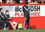 Aberdeen v St Johnstone...03.10.15   SPFL   Pittodrie, Aberdeen<br /> Derek McInnes holds his head<br /> Picture by Graeme Hart.<br /> Copyright Perthshire Picture Agency<br /> Tel: 01738 623350  Mobile: 07990 594431