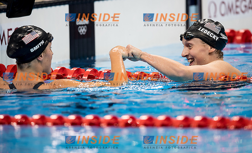 Ledecky Katie USA World Record 3.5646 and Gold medal and Smith Leah USA<br /> 400 freestyle women<br /> Rio de JaneiroXXXI Olympic Games <br /> Olympic Aquatics Stadium <br /> Swimming finals 07/08/2016<br /> Photo Giorgio Scala/Deepbluemedia/Insidefoto