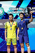 18th March 2018, Arena Birmingham, Birmingham, England; Yonex All England Open Badminton Championships; Shi Yuqi (CHN) wins the mens singles  final against Lin Dan (CHN) while both are on the podium to collect their medals