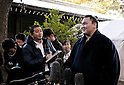 "Hakuho, Tokyo, Japan, January 6, 2012 : Mongolian grand sumo champion Yokozuna Hakuho answers reporter's question after the ""ring entering ceremony"" for dedication at Meiji Shrine, Tokyo, Japan, on January 6, 2012. (Photo by AFLO)"