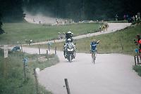 race leader Julian Alaphilippe (FRA/Quick-Step Floors) solo on the gravel section after the top of the Montée du plateau des Glières (HC/1390m)<br /> <br /> Stage 10: Annecy > Le Grand-Bornand (159km)<br /> <br /> 105th Tour de France 2018<br /> ©kramon