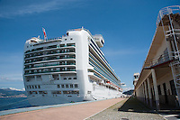 MS Ventura is a Grand class cruise ship operated by P&O Cruises, which entered service in April 2008. The ship is the largest cruise ship built for Britain, accommodating 3,100 passengers. Vigo, Spain....Copyright..John Eveson,.Dinkling Green Farm,.Whitewell,.Clitheroe,.Lancashire..BB7 3BN.Tel. 01995 61280.Mobile 07973 482705.j.r.eveson@btinternet.com.www.johneveson.com