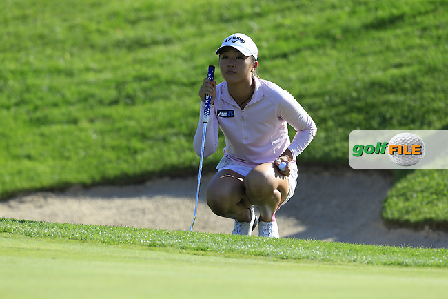 Lydia Ko (NZL) lines up her putt on the 18th green during Sunday's Final Round of the LPGA 2015 Evian Championship, held at the Evian Resort Golf Club, Evian les Bains, France. 13th September 2015.<br /> Picture Eoin Clarke | Golffile
