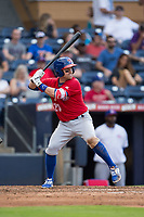 Jake Elmore (20) of the Buffalo Bisons at bat against the Durham Bulls at Durham Bulls Athletic Park on April 30, 2017 in Durham, North Carolina.  The Bisons defeated the Bulls 6-1.  (Brian Westerholt/Four Seam Images)