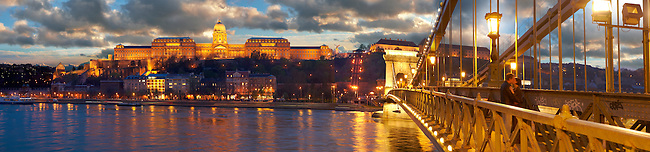 Szechenyi Lanchid Castle district at night. Budapest Hungary.