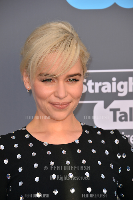 Emilia Clarke at the 23rd Annual Critics' Choice Awards at Barker Hangar, Santa Monica, USA 11 Jan. 2018<br /> Picture: Paul Smith/Featureflash/SilverHub 0208 004 5359 sales@silverhubmedia.com