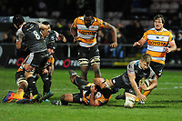 Olly Cracknell of Ospreys is tackled by Wilmar Arnoldi of Cheetahs during the Guinness Pro 14 Round 7 match between Ospreys and Cheetahs at The Gnoll in Neath, Wales, UK. Saturday 30 November 2019