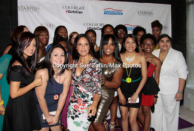 Soledad O'Brien and Kim Bondy pose with the girls at Soledad O'Brien and Brad Raymond Starfish Foundation presents New Orleans to New York City 2014 Gala on July 24, 2014 at Espace, New York City for VIP Cocktail Reception, dinner, entertainment with Grammy Award winning Trumpeteer Irvin Mayfield (also Board president) and the New Orleans Jazz Orchestra. (Photo by Sue Coflin/Max Photos)