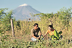 Natividad Rios inspects the crop in a community farm in El Bonete, a small village in northwestern Nicaragua, accompanied by Marina Guerrero, a staffer of the Lutheran World Federation.