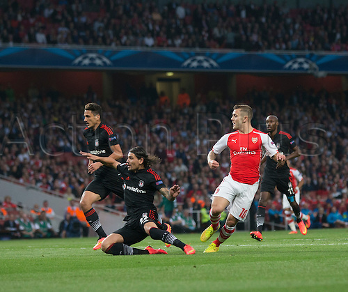 27.08.2014.  London, England. Champions League Qualifying 2nd Leg. Arsenal versus Besiktas. Arsenal's Jack Wilshere sees an early chance go narrowly wide.