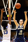 21 February 2016: Georgia Tech's Katarina Vuckovic (SRB) (10) lobs the ball over Duke's Crystal Primm (13). The Duke University Blue Devils hosted the Georgia Tech Yellow Jackets at Cameron Indoor Stadium in Durham, North Carolina in a 2015-16 NCAA Division I Women's Basketball game. Georgia Tech won the game 64-59.