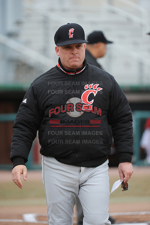 Cincinnati Bearcats Head Coach Brian Cleary during 1st game of double header against the St. John's Redstorm at Jack Kaiser Stadium on March 28, 2013 in Queens, New York. St. John's defeated Cincinnati 6-5.      . (Tomasso DeRosa/ Four Seam Images)