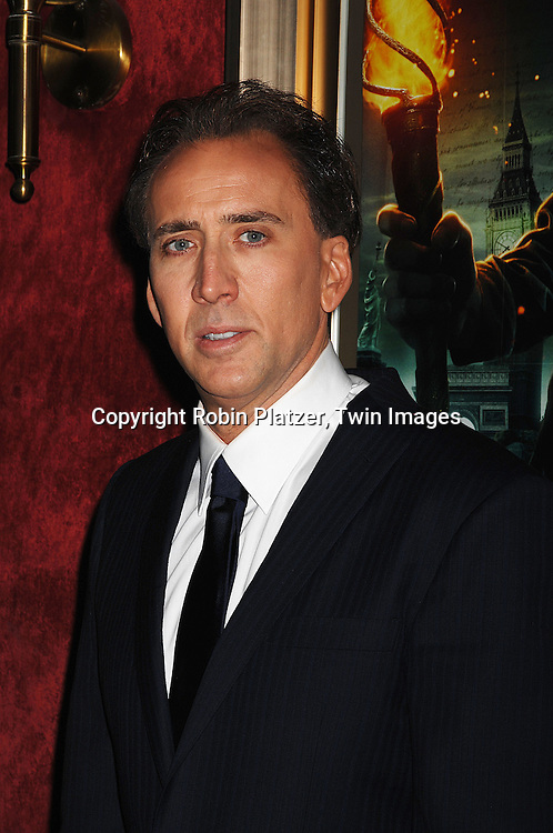 "Nicolas Cage.arriving to The World Premiere of ""National Treasure: Book of Secrets"" on December 13, 2007 at The Ziegfeld Theatre. .Robin Platzer, Twin Images"