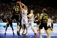 GRONINGEN - Basketbal, Donar - Telenet Giants Antwerp, Martiniplaza,  Europe Cup, seizoen 2017-2018, 06-12-2017,  Donar speler Evan Bruinsma met Antwerp speler Yoeri Schoepen