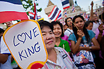 """Apr. 18, 2010 - Bangkok, Thailand: A Pink Shirt holds up placard supporting Thai King Bhumibol Adulyadej during a peace rally Sunday. Thousands of so called """"Pink Shirts"""" jammed the area around Victory Monument in Bangkok to show support the Thai Monarch, King Bhumibol Adulyadej, and against the Red Shirts, who are demonstrating just a few kilometres away in the Ratchaprasong area. The Pink Shirts claim to not support either of the other political factions who wear colors - the Red Shirts, who support deposed Prime Minister Thaksin Shinawatra and their opponents the Yellow Shirts, who are against Thaksin.    Photo By Jack Kurtz"""