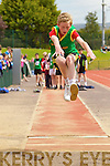 Finn Mallon, Castlegregory in the finals of the boys u-14 Long Jump at the Kerry community games athlethics finals at an Riocht, Castleisland on Sunday.