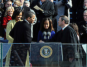 Washington, DC - January 20, 2009 -- United States President Barack Obama shakes hands with Chief Justice John Roberts after taking the oath of office as he is sworn in as the 44th President of the United States in Washington, DC, USA, 20 January 2009. Obama defeated Republican candidate John McCain on Election Day 04 November 2008 to become the next U.S. President.Credit: Pat Benic - Pool via CNP