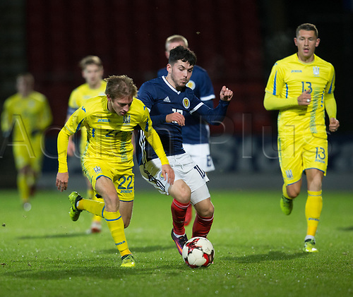 14th November 2017, McDiarmid Park, Perth, Scotland; UEFA Under 21 European Championships qualification, Scotland U-21 versus Ukraine U-21; Scotland's Lewis Morgan battles for the ball with Ukraine's Valeriy Luchkevych