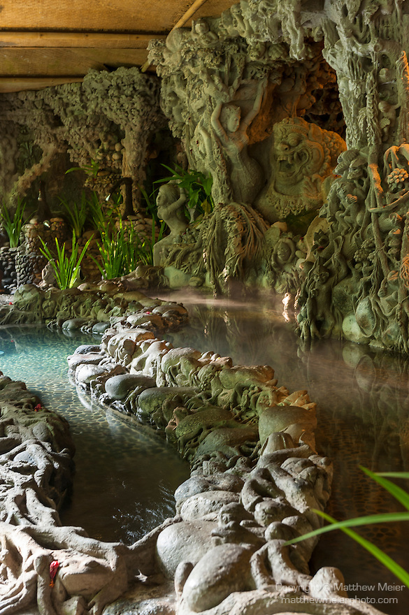 Ubud, Bali, Indonesia; elaborate stone pools and spa areas on the grounds of the Tjampuhan Hotel