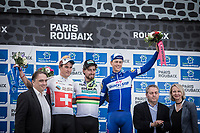 The Paris Roubaix 2018 podium:<br /> <br /> 1st place: World Champion Peter Sagan (SVK/Bora Hansgrohe)<br /> 2nd place Swiss Champion Silvan Dillier (SUI/AG2R La Mondiale)<br /> 3th place Niki Terpstra (NED/Quick Step Floors)<br /> <br /> 116th Paris-Roubaix (1.UWT)<br /> 1 Day Race. Compiègne - Roubaix (257km)