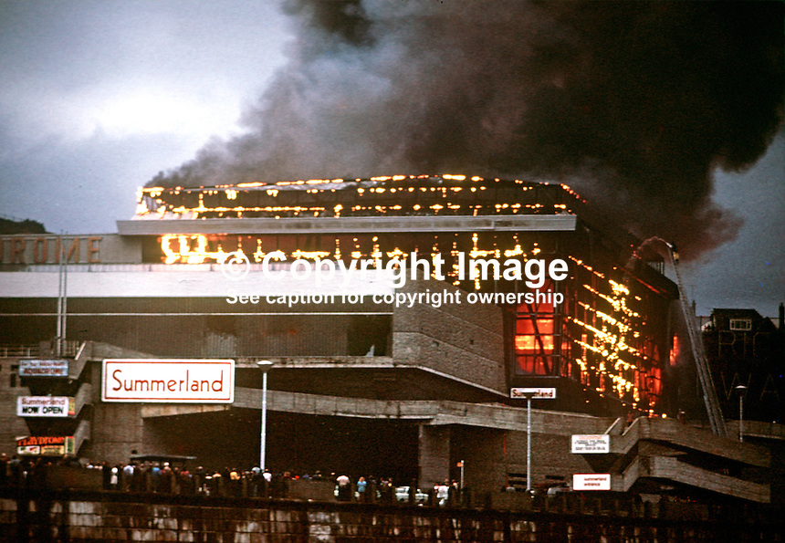 The blaze at the Summerland Entertainment Complex, Isle of Man, UK, on 2 August 1973, in which 50 died and 80 were seriously injured. 197308020527a.<br /> <br /> Copyright Image from Victor Patterson, 54 Dorchester Park, Belfast, UK, BT9 6RJ<br /> <br /> t1: +44 28 9066 1296 (from Rep of Ireland 048 9066 1296)<br /> t2: +44 28 9002 2446 (from Rep of Ireland 048 9002 2446)<br /> m: +44 7802 353836<br /> <br /> e1: victorpatterson@me.com<br /> e2: victorpatterson@gmail.com<br /> <br /> The use of my copyright images is subject to my Terms &amp; Conditions.<br /> <br /> It is IMPORTANT that you familiarise yourself with them. They are available on my website at www.victorpatterson.com.<br /> <br /> None of my copyright images may be used on a website or on television unless they are visibly watermarked, i.e. &copy; Victor Patterson within the body of the visible image. The metadata of images used on the Internet must not be removed.<br /> <br /> Copyright acknowledgment of my images is a condition of use.<br /> <br /> Failure to observe the above conditions will incur a penalty of at least 100% of the agreed fee. <br /> <br /> Web use (maximum size - 400 kb) is extra at currently recommended NUJ rates.erson.com