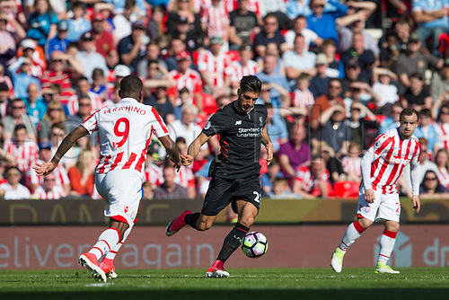 April 8th 2017, bet365 Stadium, Stoke on Trent, Staffordshire, England; EPL Premier League football, Stoke City versus Liverpool; Liverpool's Emre Can crosses the ball in front of Stoke City's Saido Berahino
