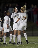 "Boston College forward Brooke Knowlton (16) celebrates her goal with teammates. Boston College defeated West Virginia, 4-0, in NCAA tournament ""Sweet 16"" match at Newton Soccer Field, Newton, MA."