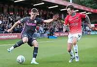 Leeds United's Jack Clarke takes on Salford City's Danny Whitehead<br /> <br /> Photographer Alex Dodd/CameraSport<br /> <br /> The Carabao Cup First Round - Salford City v Leeds United - Tuesday 13th August 2019 - Moor Lane - Salford<br />  <br /> World Copyright © 2019 CameraSport. All rights reserved. 43 Linden Ave. Countesthorpe. Leicester. England. LE8 5PG - Tel: +44 (0) 116 277 4147 - admin@camerasport.com - www.camerasport.com