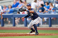 San Antonio Missions first baseman Fernando Perez (22) during a game against the Tulsa Drillers on June 1, 2017 at ONEOK Field in Tulsa, Oklahoma.  Tulsa defeated San Antonio 5-4 in eleven innings.  (Mike Janes/Four Seam Images)
