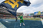November 17, The Notre Dame Leprechaun celebrates a touchdown during the Shamrock Series football game against Syracuse in Yankee Stadium, New York. (Photo by Barbara Johnston/University of Notre Dame)