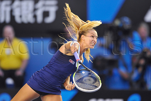 25.01.2014 Melbourne, Australia. Dominika Cibulkova of Slovakia plays in the womens final versus Li Na (CHN) in the womens final on day thirteenth of the Australian Open from Melbourne Park. Li Na powered to the title by a score of 7-6 (7-3) 6-0.